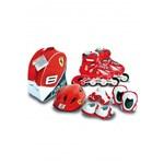 Role copii reglabile 39-42 Ferrari cu protectii si casca in ghiozdan