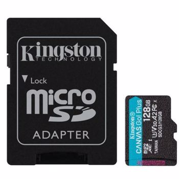 Card Kingston Canvas Go Plus microSDXC 128GB Clasa 10 U3 UHS-I 170 Mbs cu Adaptor