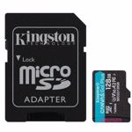 Card de memorie Kingston Canvas Go! Plus,MicroSDXC, 128GB, UHS-I, Class 10, U3, V30, A2 + Adaptor microSD
