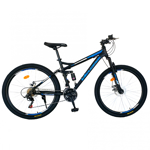 Bicicleta munte dubla suspensie Velors V2760D roata 27.5 frana disc 18 viteze negru/albastru