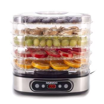 Deshidrator de alimente Daewoo DD500S 500 W 5 tavi display digital timer ventilator integrat Inox dd500s