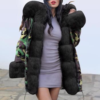 Haina lunga cu gluga ?i guler cu blana pentru femei, model la moda, cu stil camuflaj, haina model casual, cu maneci lungi, potrivita pentru sezonul de iarna