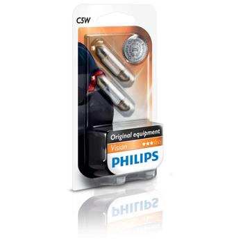 Bec auto halogen PHILIPS C5W, 12V, 5W, SV8.5 T10,5*38, blister, 2 bucati
