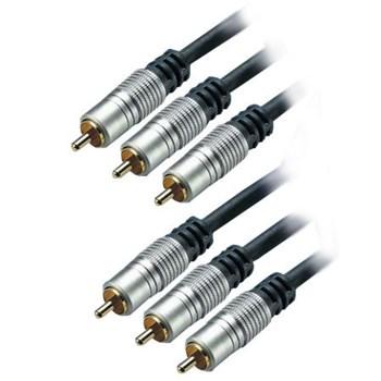 Cablu profesional 3RCA tata - 3RCA tata GOLD 24 k 10 m