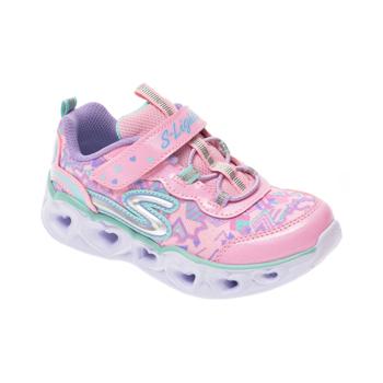 Pantofi sport SKECHERS roz, Heart Lights, din material textil si piele ecologica