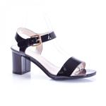 Sandale Miracle negre cu toc gros