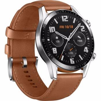 "Smartwatch Huawei Watch GT 2, Procesor Kirin A1, Display 3D AMOLED HD 1.39"", 32MB RAM, 4GB Flash, Bluetooth, GPS, Carcasa Otel, Bratara Piele 46mm, Rezistent la apa, Andorid/iOS (Maro)"