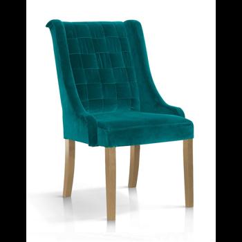 Scaun tapitat cu stofa, cu picioare din lemn Prince Velvet Turcoaz / Stejar, l55xA70xH105 cm