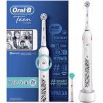 Periuta de dinti electrica Oral-B Teen, 40000 pulsatii/min, 8800 oscilatii/min, Curatare 3D, 3 programe, 2 capate, Bluetooth, alb
