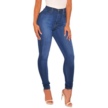CL677-444 Jeans skinny din denim elastic, cu talie inalta