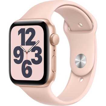 Apple Watch SE, GPS, Carcasa Gold Aluminium 44mm, Pink Sand Sport Band