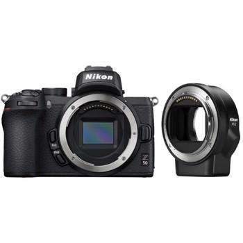 Aparat foto Mirrorless Z50 Body + FTZ, 20.9 MP, 4K, Wi-Fi, Negru