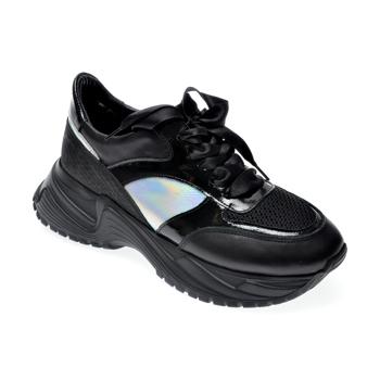 Pantofi sport EPICA negri, 135P254, din piele naturala