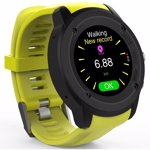 Ceas Smartwatch FitGo FW17 Power, GPS, bratara silicon sport, Galben Titanium