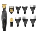 Aparat de tuns si conturat barba Remington T-Series Ultimate Precision MB7000, 9 accesorii, Lame Titan, 100% rezistent la apa, Negru/Auriu