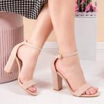 Sandale cu toc dama bej Supisa
