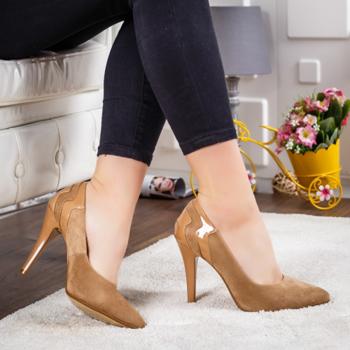 Pantofi Bacali maro cu toc -rl