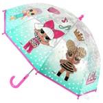 Umbrela pentru copii cu LOL surprise transparenta turquoise cu buline 3 ani