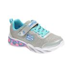 Pantofi sport SKECHERS argintii, SWEETHEART LIGHTS, din material textil