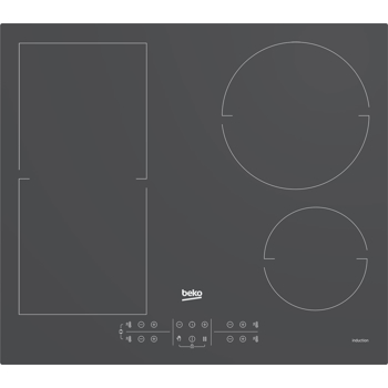 Plita incorporabila Beko HII64200FMTZG, Inductie, 4 zone de gatit, Booster, Touch control, 60 cm, Sticla Gri