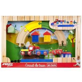 Set de joaca Ferry jouets, tren cu sine din lemn, multicolor, 19 piese