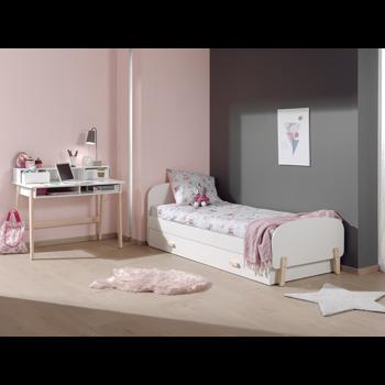 Set Mobila dormitor din lemn de pin si MDF, pentru copii 3 piese Kiddy Alb, 200 x 90 cm