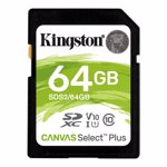 Card Kingston, 64GB, Canvas Select Plus, Clasa 10 UHS-I, R/W 100/85 MB/s