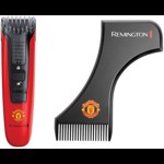 Aparat de tuns barba Remington Beard Boss Manchester United Edition MB4128, Acumulator, Lame CaptureTrim, Negru/Rosu