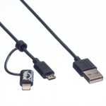 Cablu USB la micro USB-B + adaptor Lightning iPhone 5/6/7 MFI Negru 1m, Value 11.99.8325