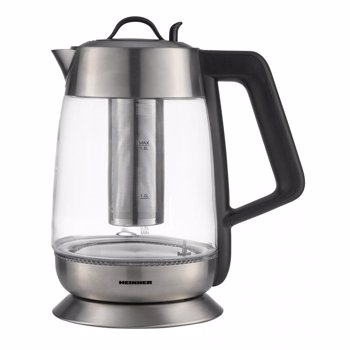 Fierbator cu filtru de ceai Heinner HEK-TF18GX, 1.8 L, 5 setari temperatura, iluminare colorata, control touch, element inox, oprire automata, Inox/Sticla