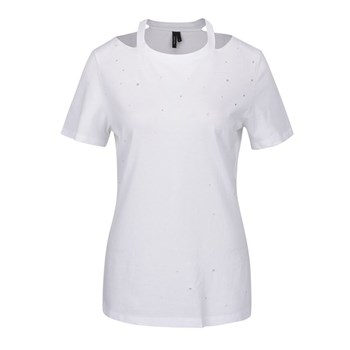 Tricou alb cu aspect uzat si perforatii VERO MODA Juniper
