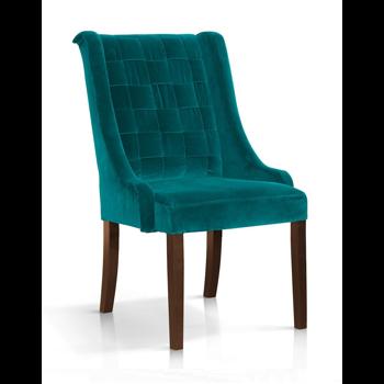 Scaun tapitat cu stofa, cu picioare din lemn Prince Velvet Turcoaz / Nuc, l55xA70xH105 cm