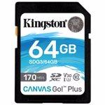Card SD Kingston Canvas Go Plus 64GB Clasa 10 UHS-I U3 V30 170Mbs