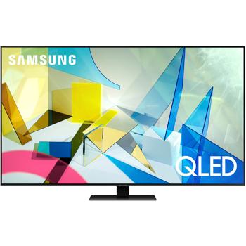 Televizor QLED Samsung QE65Q80TA, 165 cm, 4K UHD, PQI 3800, Dolby Digital Plus, Procesor Quantum 4K, Smart TV, Mod jocuri, Wi-Fi, Bluetooth, CI+, Clasa energetica B, Carbon silver