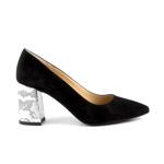 pantofi femei enzo bertini negri din piele intoarsa cu toc snake print 1429dp3023vn