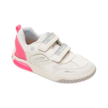 Pantofi sport GEOX albi, J02ASA, din material textil si piele ecologica