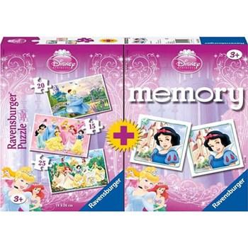 Puzzle memory printesele Disney, 3 buc., 15/20/25 piese, RAVENSBURGER