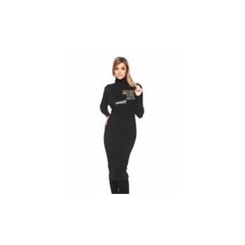 Rochie PrettyGirl neagra casual tricotata pe gat cu maneci lungi