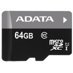 Secure Digital Card micro SDHC 64GB class 10 ADATA, adaptor SD (AUSDX64GUICL10-RA1)