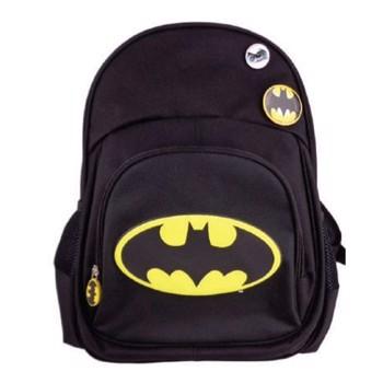 Ghiozdan Logo Batman, pentru baieti, clasa 0, bretele ajustabile, negru
