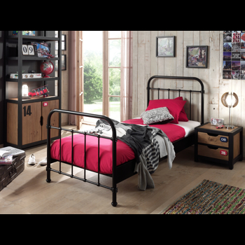 Set Mobila dormitor din lemn de pin si MDF cu pat metalic, pentru copii 3 piese New York Negru / Natural, 200 x 90 cm