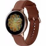 SmartWatch Samsung Galaxy Watch Active 2 (2019), 44 mm, otel auriu, curea piele maro, LTE, Wi-Fi, Bluetooth, GPS, NFC, rezistent la apa