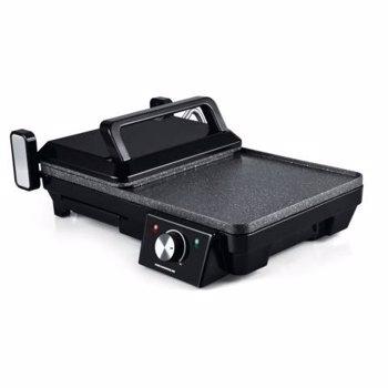 Grill electric 2 in 1 Heinner HEG-F20002P, 2000W, Invelis marmura anti-adeziv, Placa mobila cu deschidere 180º, Temperatura reglabila 150ºC – 210ºC, Negru