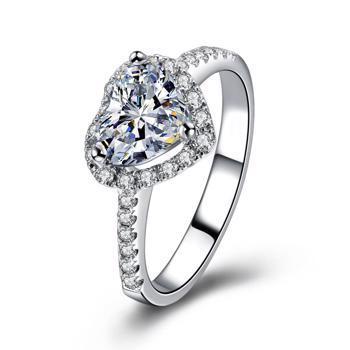 Inel de Logodna pentru Femei ?ic, Placat cu Argint, Zirconiu, Inima de Cristal