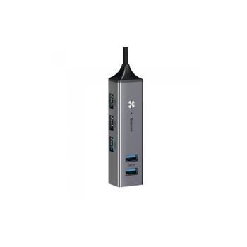 HUB Baseus Cube, Apple Macbook, 3x USB 3.0, 2x USB 2.0, Gri