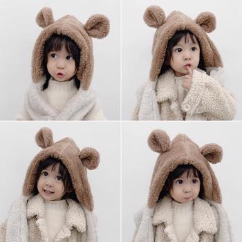 Caciula simpatica pentru copii, cu fular, model calduros ?i modern 2 in 1, cu urechiu?e de iepure, pentru fete ?i baieti