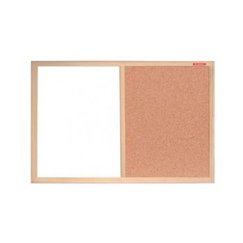 Panou Duo whiteboard si pluta, rama lemn, 60x40 cm, notite