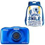 Aparat Foto Digital NIKON Coolpix W150, 13.2MP, Zoom Optic 3x, Wi-Fi cu rucsac (Albastru)