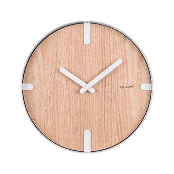Ceas de perete din furnir de stejar Karlsson Dashed, ø 30 cm