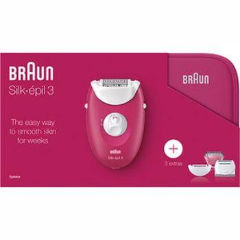 Epilator BRAUN Silk-epil 3 3-415GS, 20 penste, 2 viteze, 3 accesorii, retea, roz